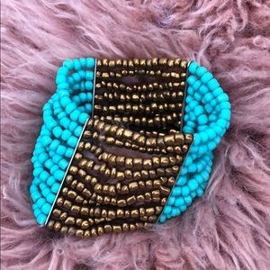 Turquoise beaded bangle bracelet